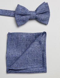 ASOS DESIGN textured bow tie and pocket square pack in blue - Blue