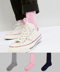 ASOS DESIGN Textured Socks In Basket Weave 3 Pack - Multi