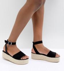 ASOS DESIGN Thear Espadrille Flatform Sandals - Black