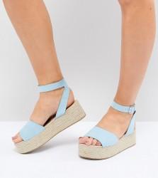 ASOS DESIGN Thear Wide Fit Espadrille Flatform Sandals - Blue