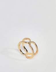 ASOS DESIGN Thumb ring with engraved double row - Gold