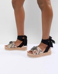 ASOS DESIGN Thyme Embellished Tie Leg Flatforms - Multi