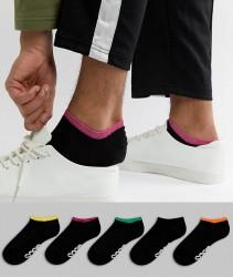 ASOS DESIGN Trainer Socks In Black With Contrast Welts & Branded Soles 5 Pack - Multi