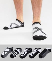 ASOS DESIGN Trainer Socks In Monochrome Design 5 Pack - Multi