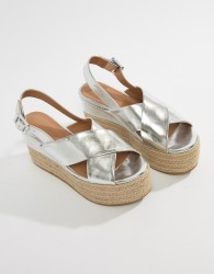 ASOS DESIGN Trio Espadrille Wedge Sandals - Silver