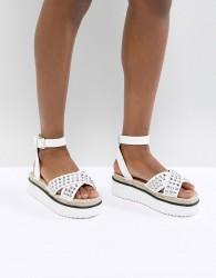 ASOS DESIGN Tristen Studded Flatforms - White
