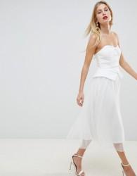 ASOS DESIGN tux tulle midi dress - White