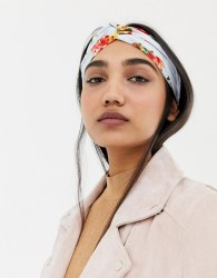 ASOS DESIGN twist front headband in red floral print - Red