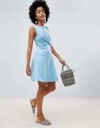 ASOS DESIGN twist front skater dress - Blue