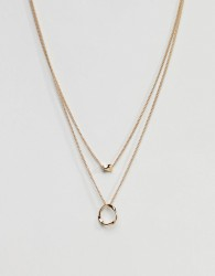 ASOS DESIGN Twisted Nugget Bead And Hoop Multirow Necklace - Gold