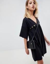 ASOS DESIGN ultimate cotton smock dress with eyelets - Black