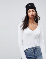 ASOS DESIGN ultimate top with long sleeve and v-neck in white - White