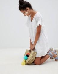ASOS DESIGN V Front V Back Smock Mini Dress In Broderie - White