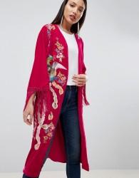 ASOS DESIGN Velvet Embroidered Fringe Kimono - Pink