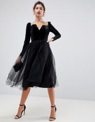 ASOS DESIGN velvet tulle midi dress - Black
