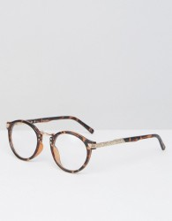 ASOS DESIGN vintage round clear lens glasses in tort - Brown