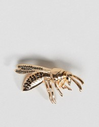 ASOS DESIGN wasp brooch with crystals in gold tone - Gold