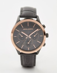 ASOS DESIGN watch in charcoal and rose gold with sub dials - Grey