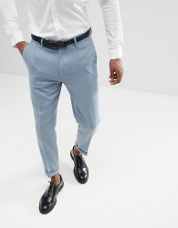ASOS DESIGN Wedding Skinny Crop Smart Trousers In Blue Wool Mix With Turn Up - Blue