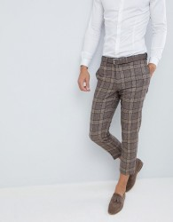 ASOS DESIGN wedding skinny crop suit trousers in camel check - Brown