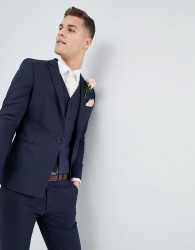 ASOS DESIGN wedding skinny suit jacket with square hem in navy - Navy