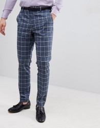 ASOS DESIGN Wedding Skinny Suit Trousers In Blue And White Check - Blue