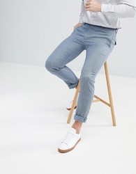 ASOS DESIGN wedding skinny suit trousers in light blue micro texture - Blue