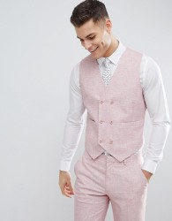 ASOS DESIGN Wedding Skinny Suit Waistcoat In Pink Cross Hatch With Printed Lining - Pink