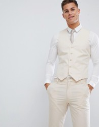 ASOS DESIGN wedding skinny suit waistcoat in stretch cotton in stone - Stone