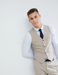 ASOS DESIGN Wedding slim suit waistcoat in stone - Grey