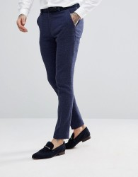 ASOS DESIGN wedding super skinny suit trousers in blue micro check - Blue