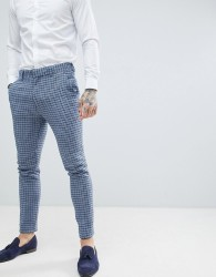 ASOS DESIGN wedding super skinny suit trousers in blue wool blend mini check - Blue