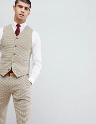 ASOS DESIGN Wedding Super Skinny Waistcoat In Neutral Houndstooth - Beige