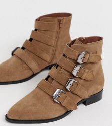 ASOS DESIGN Wide Fit Alissa leather buckled boots - Tan