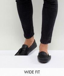ASOS DESIGN Wide Fit Driving Shoes In Black Leather With Tassels - Black