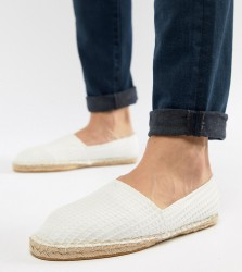 ASOS DESIGN Wide Fit Espadrilles In White With Texture - White