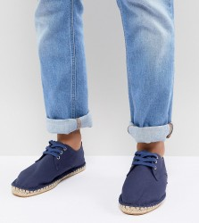 ASOS DESIGN Wide Fit lace up espadrilles in navy canvas - Navy