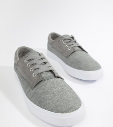 ASOS DESIGN Wide Fit lace up plimsolls in grey twill - Grey