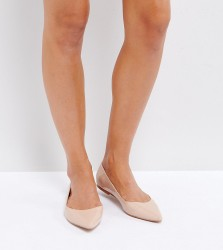 ASOS DESIGN Wide Fit Latch pointed ballet flats - Beige