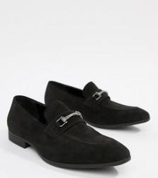 ASOS DESIGN Wide Fit loafers in black faux suede with snaffle detail - Black