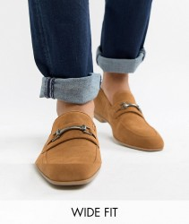 ASOS DESIGN Wide Fit loafers in tan faux suede with snaffle detail - Tan
