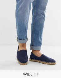 ASOS DESIGN Wide Fit square toe espadrilles in navy faux suede - Navy