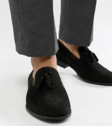 ASOS DESIGN Wide Fit tassel loafers in black faux suede - Black