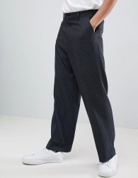 ASOS DESIGN Wide Leg Smart Trouser With Ditsy Pattern - Navy