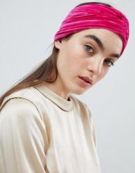 ASOS DESIGN wide turban in pink velvet - Pink