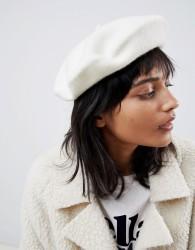 ASOS DESIGN wool beret with bound edge - White