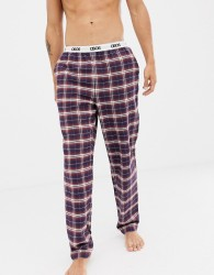 ASOS DESIGN woven straight pyjama bottoms in deep colour brushed check in gift bag - Multi