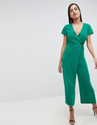 ASOS DESIGN Wrap Jumpsuit With Horn Button And Culotte Leg - Yellow