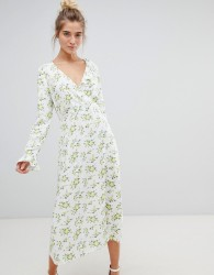 ASOS DESIGN wrap maxi dress with long sleeves in ditsy floral - Multi