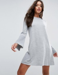 ASOS Dress In Knit With Fluted Sleeve - Grey